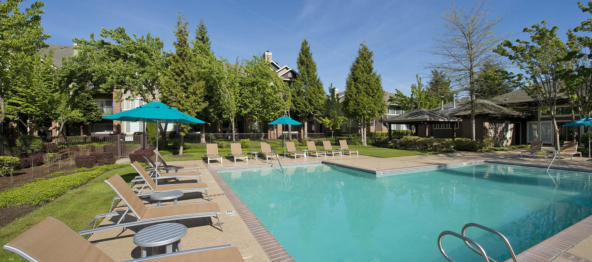 Outdoor pool at Cortland Village Apartment Homes in Hillsboro, OR