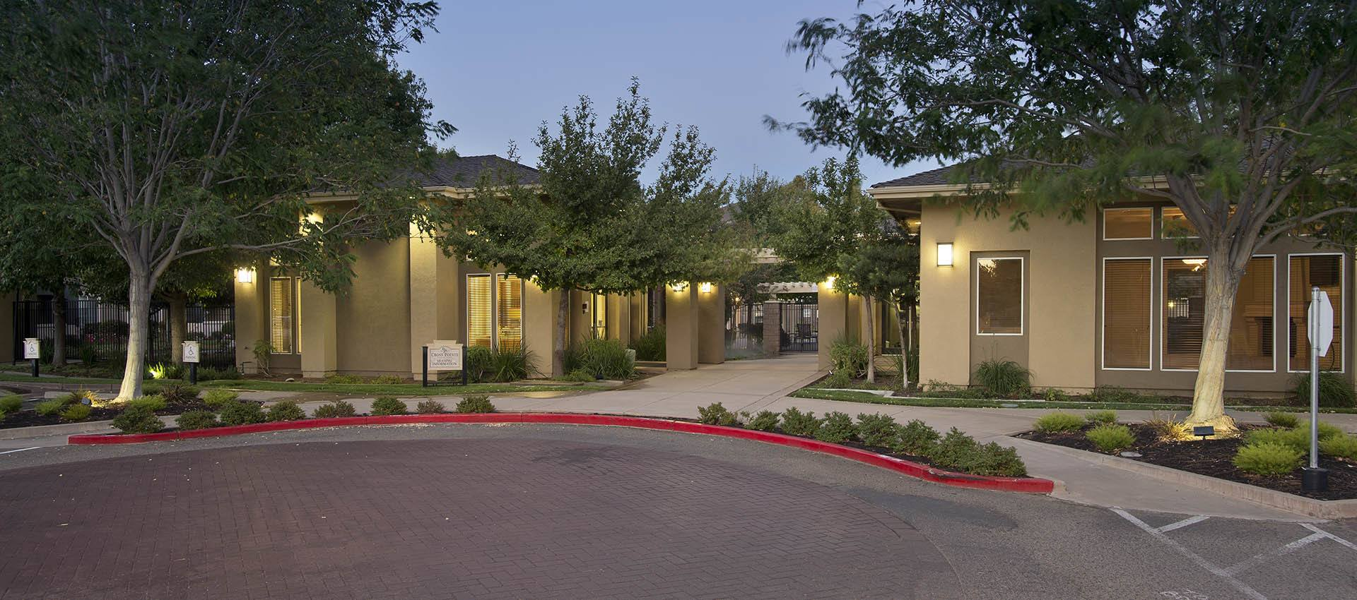 Entrance to the resident clubhouse at Cross Pointe Apartment Homes in Antioch
