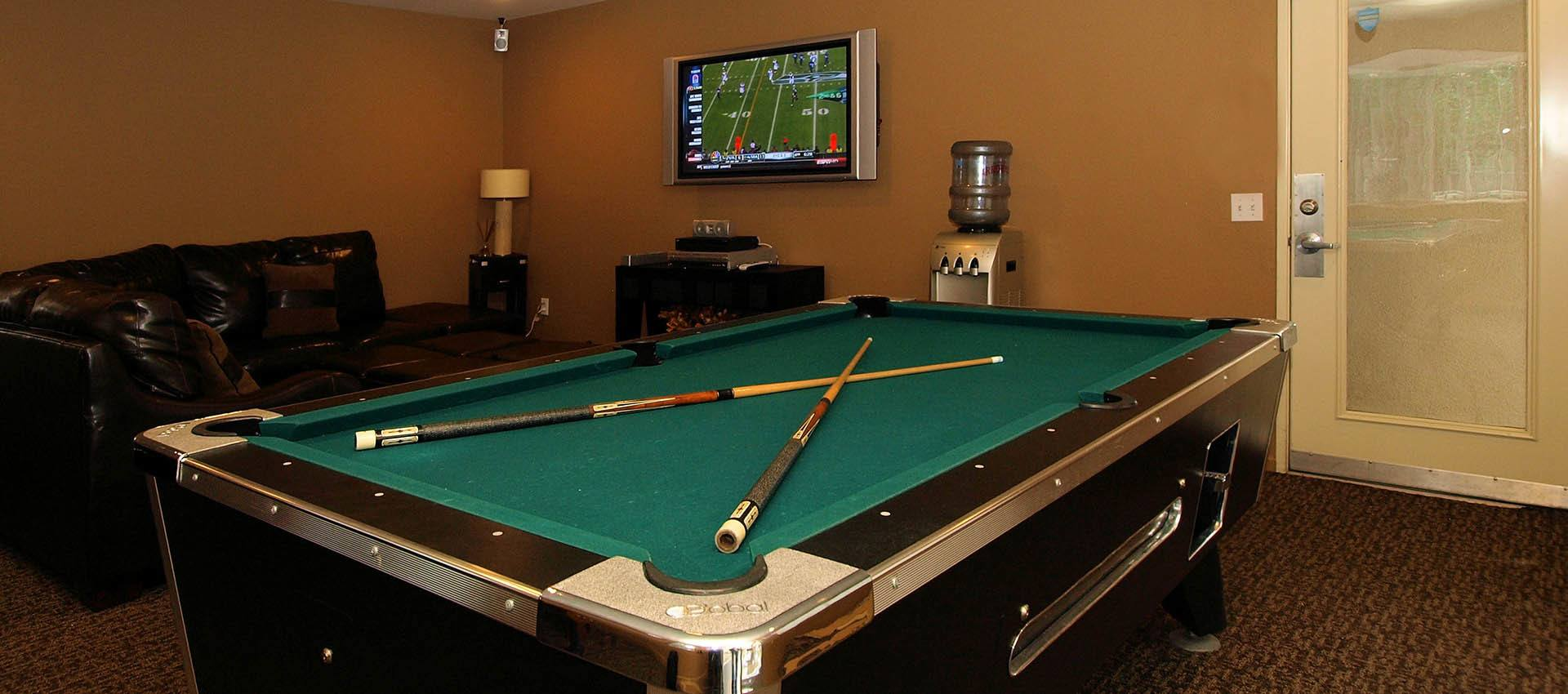 Resident's Clubhouse With Billiards at Cypress Villas Apartment Homes in Redlands
