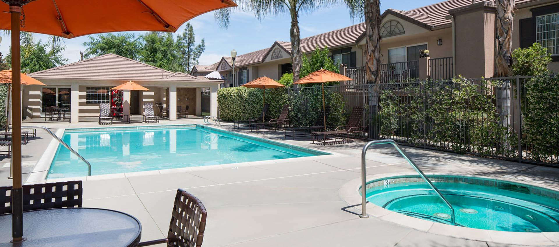 Resort Style Spa And Pool at Cypress Villas Apartment Homes in Redlands, CA