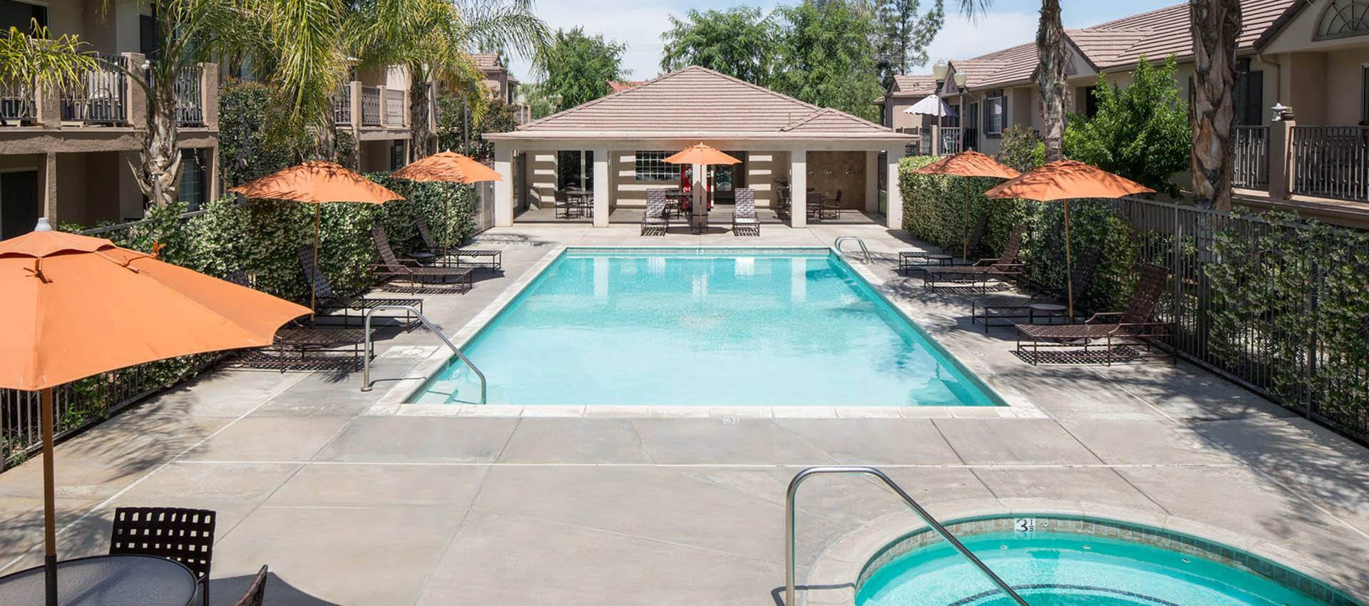 Spa And Pool Area at Cypress Villas Apartment Homes in Redlands, CA