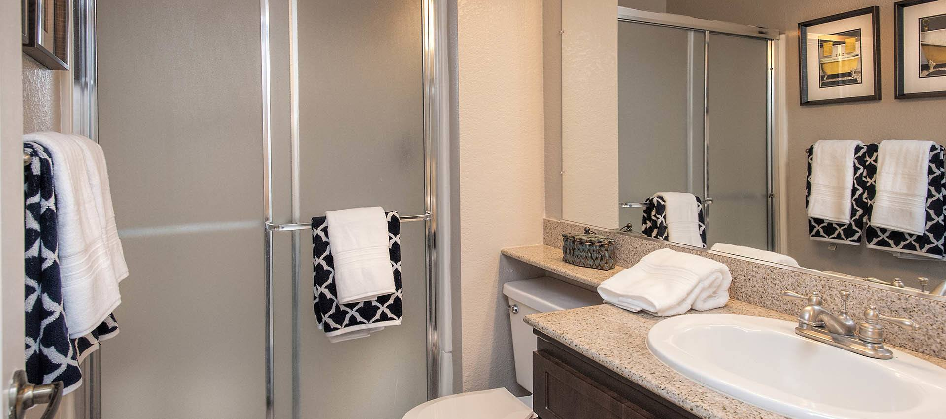 Bathroom With Shower at Deer Valley Apartment Homes in Roseville, California