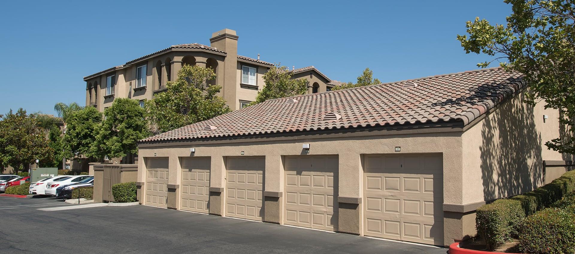 Exterior of garages at Esplanade Apartment Homes in Riverside California