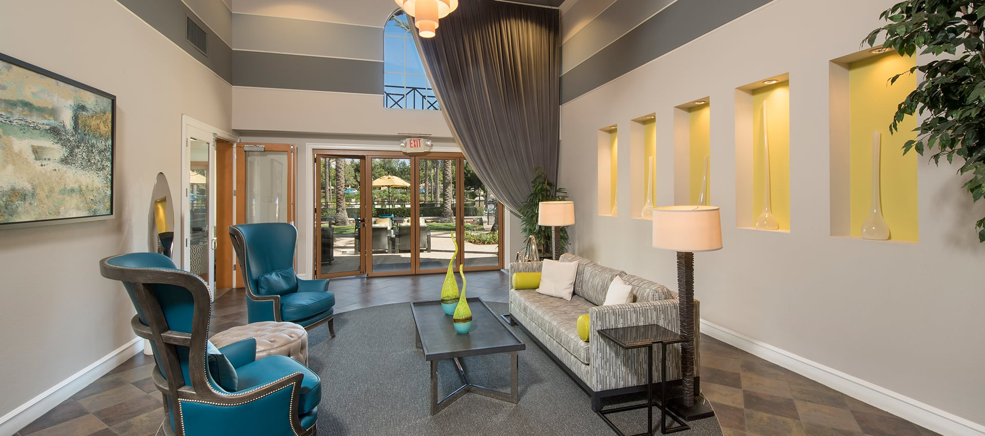 Seating Area At Clubhouse at Esplanade Apartment Homes in Riverside, CA