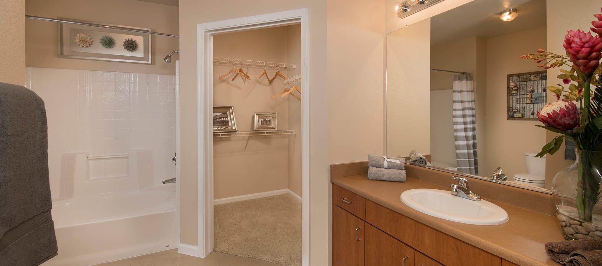 Bathroom and walk-in closet at Esplanade Apartment Homes in Riverside, California