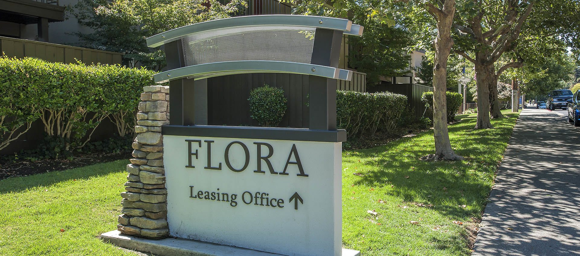 Signage at Flora Condominium Rentals in Walnut Creek, California