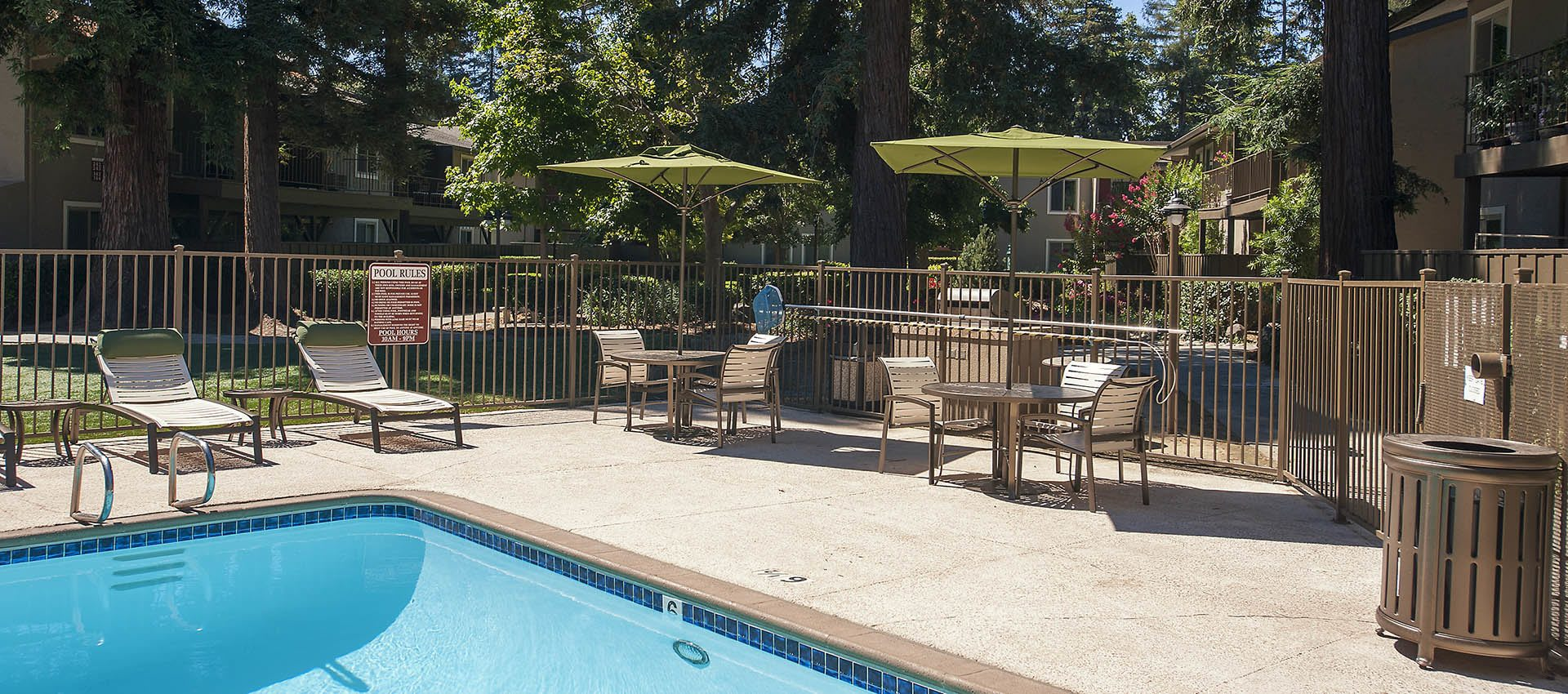 Swimming Pool With Bbq Area at Flora Condominium Rentals in Walnut Creek, California