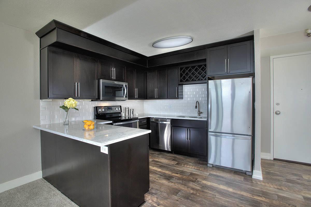 Kitchen layout with hardwood floors
