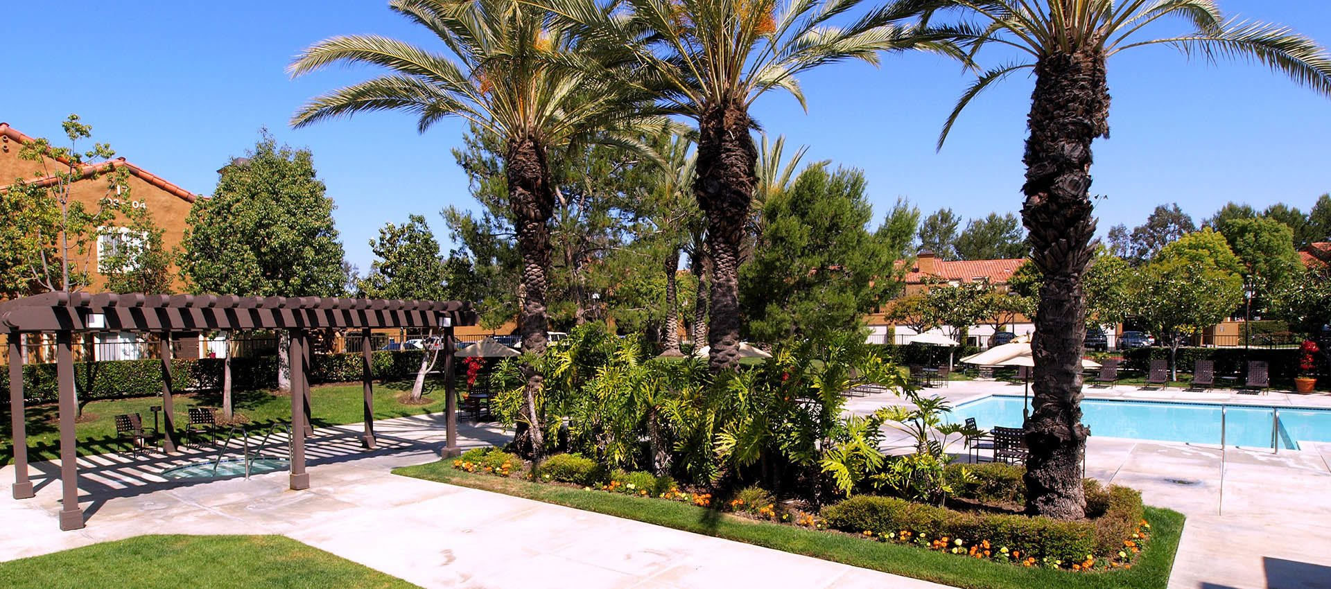 Arbor And Palms Near Pool at Hidden Hills Condominium Rentals in Laguna Niguel, CA