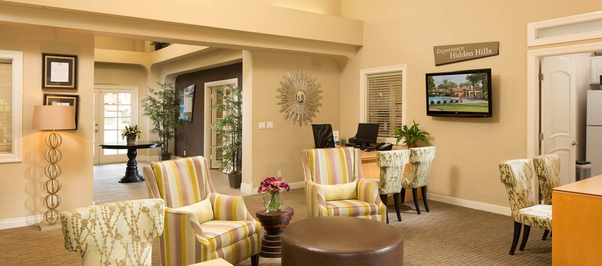 Clubhouse Seating Area at Hidden Hills Condominium Rentals in Laguna Niguel, CA