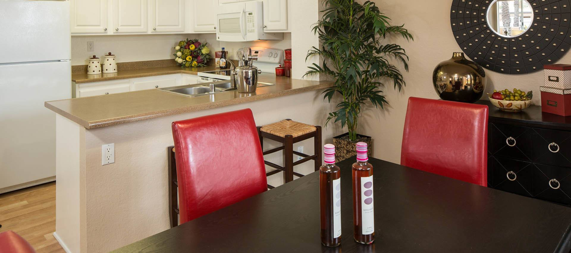 Dining And Kitchen Area at Hidden Hills Condominium Rentals in Laguna Niguel, CA