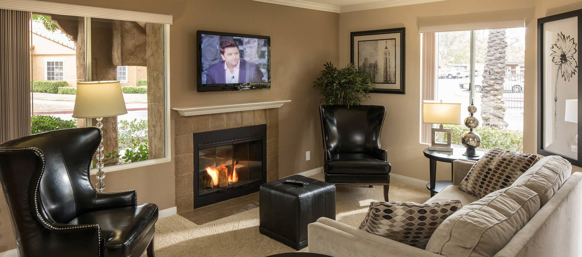 Living Room With Fireplace at Hidden Hills Condominium Rentals in Laguna Niguel, CA