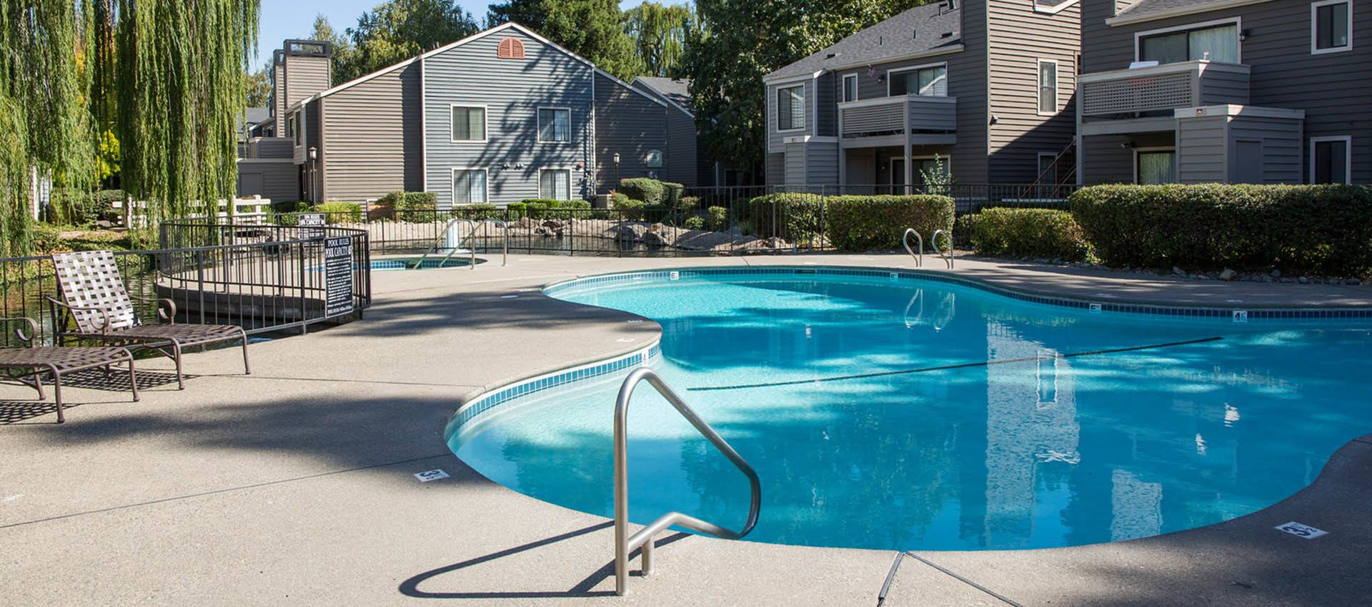 Enjoy Our Sparkling Swiming Pool at Hidden Lake Condominium Rentals in Sacramento, California