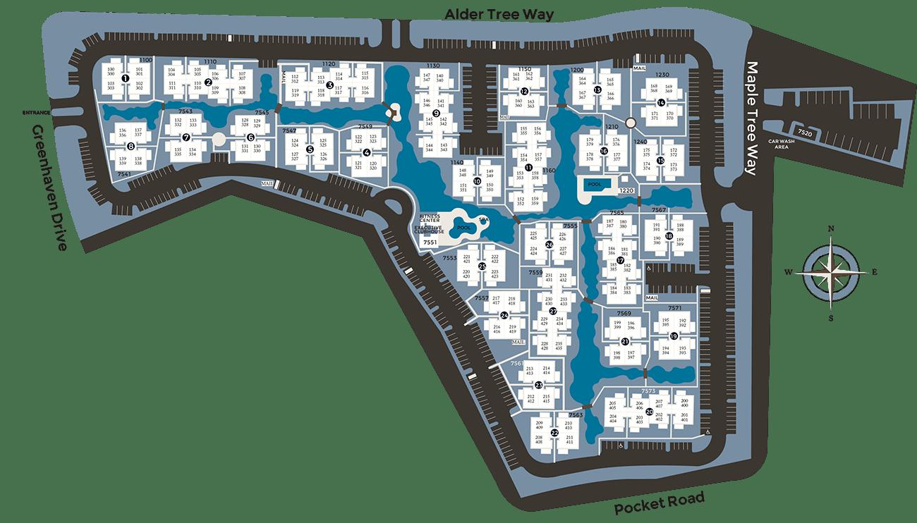 View a map of Hidden Lake Condominium Rentals in Sacramento, California