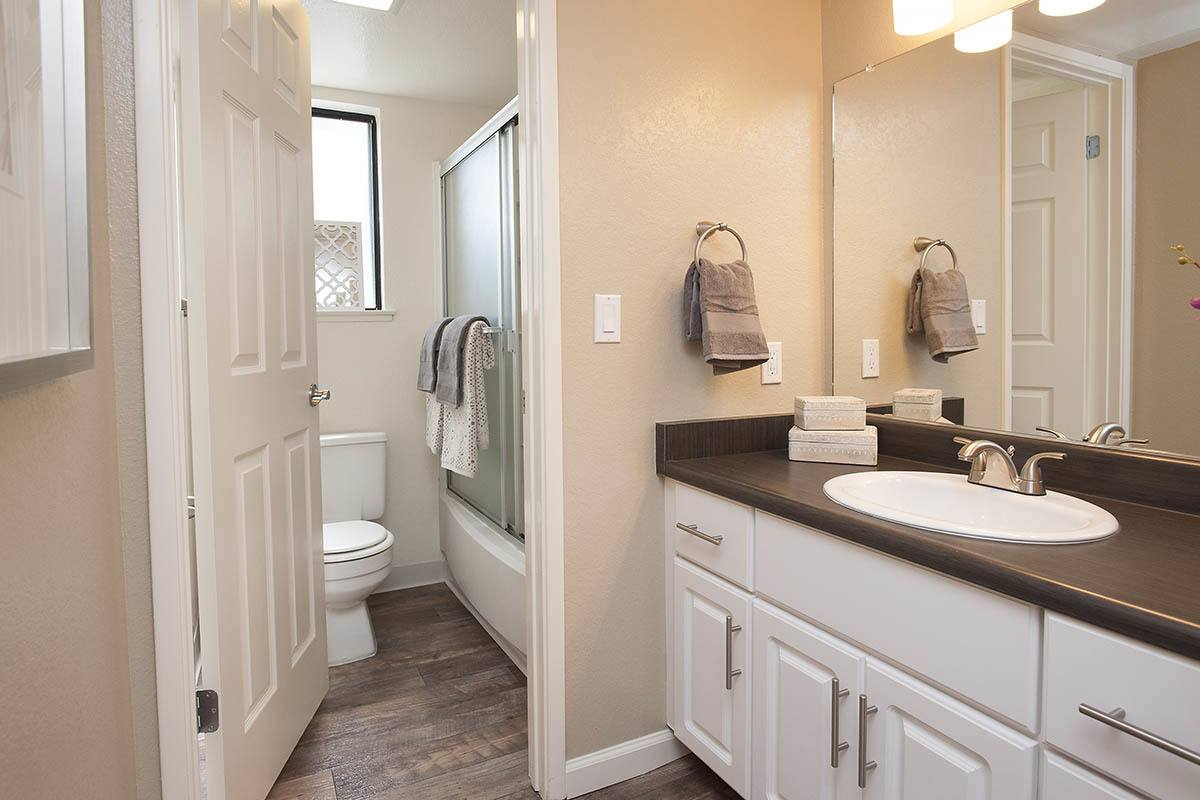 Large Bathroom With Private Shower And Commode at Hidden Lake Condominium Rentals