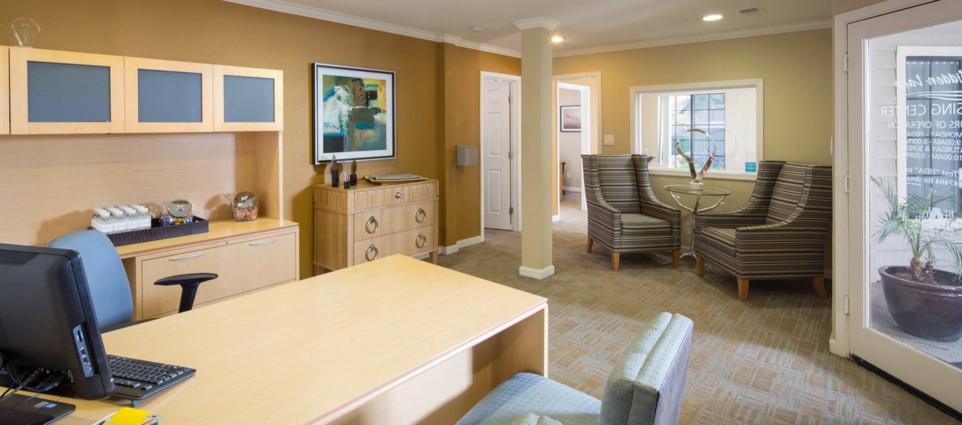 Leasing Office Interior at Hidden Lake Condominium Rentals in Sacramento, California