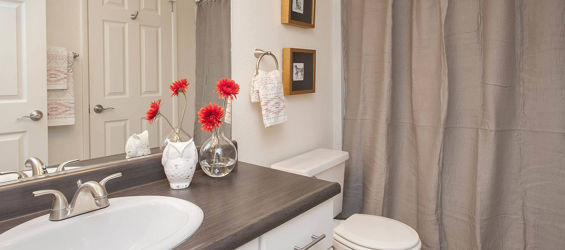 Nicely Decorated Bathroom at Hidden Lake Condominium Rentals in Sacramento, California