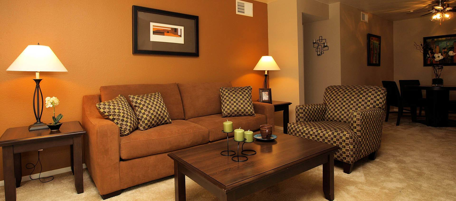 Standard Living Room at Hidden Lake Condominium Rentals in Sacramento, CA