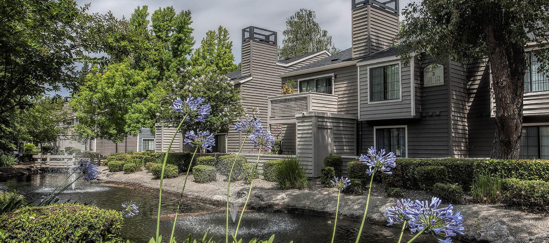 Water Feature And Landscaping at Hidden Lake Condominium Rentals in Sacramento, California
