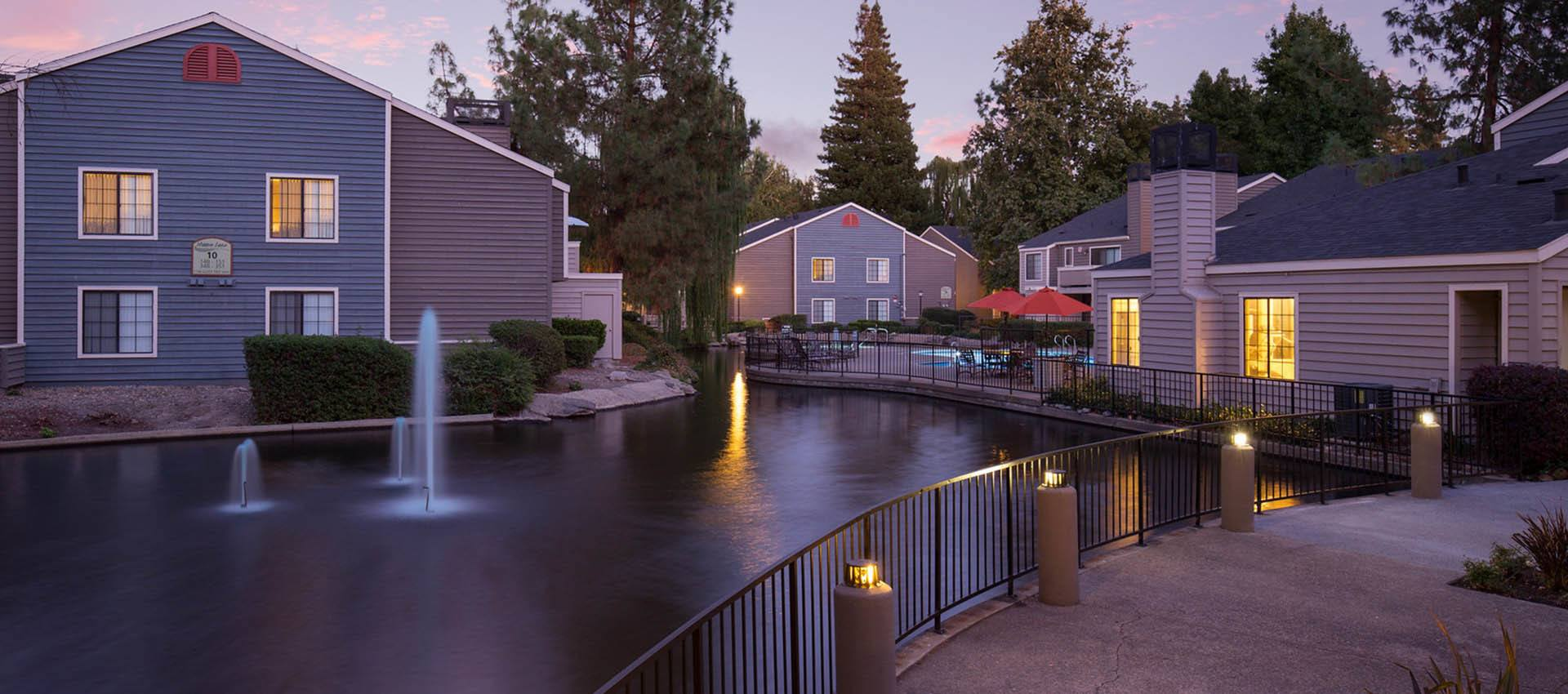 Water Feature at Hidden Lake Condominium Rentals in Sacramento, California