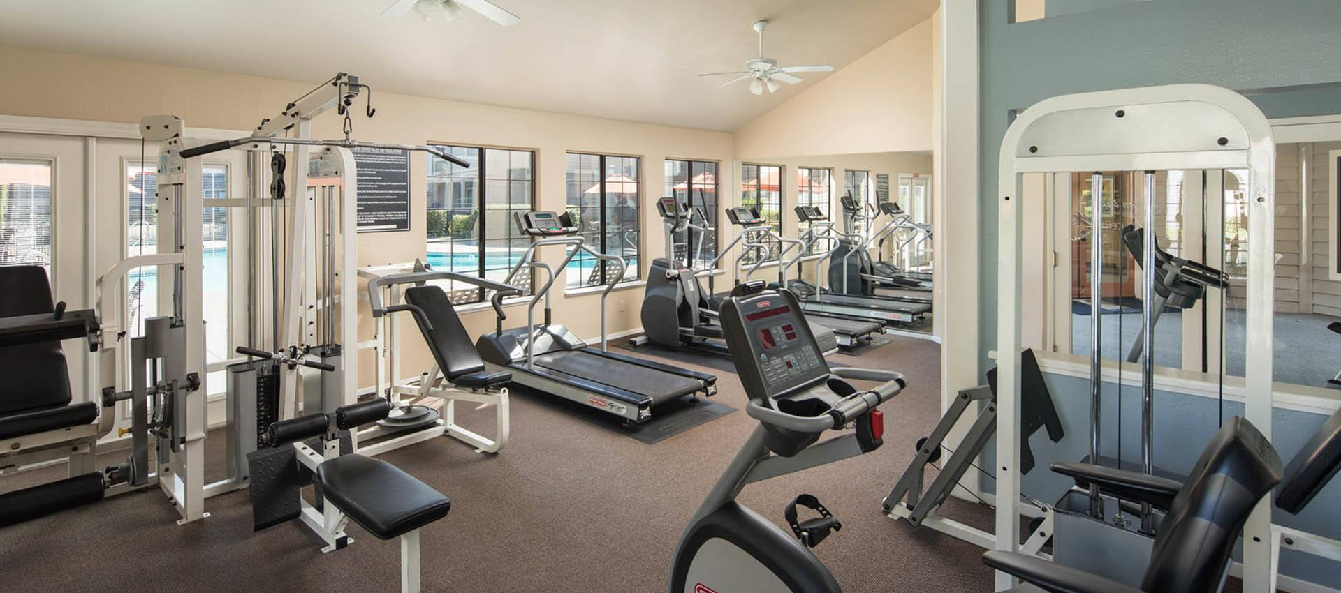 Well Equipped Fitness Center at Hidden Lake Condominium Rentals in Sacramento, California