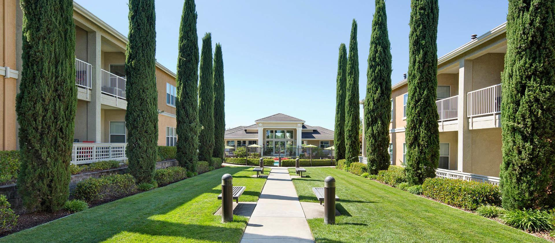 Landscaped Courtyard at Iron Point at Prairie Oaks in Folsom, California