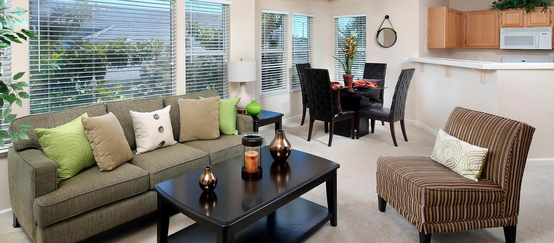 Nicely Decorated Living Room at Iron Point at Prairie Oaks in Folsom, California
