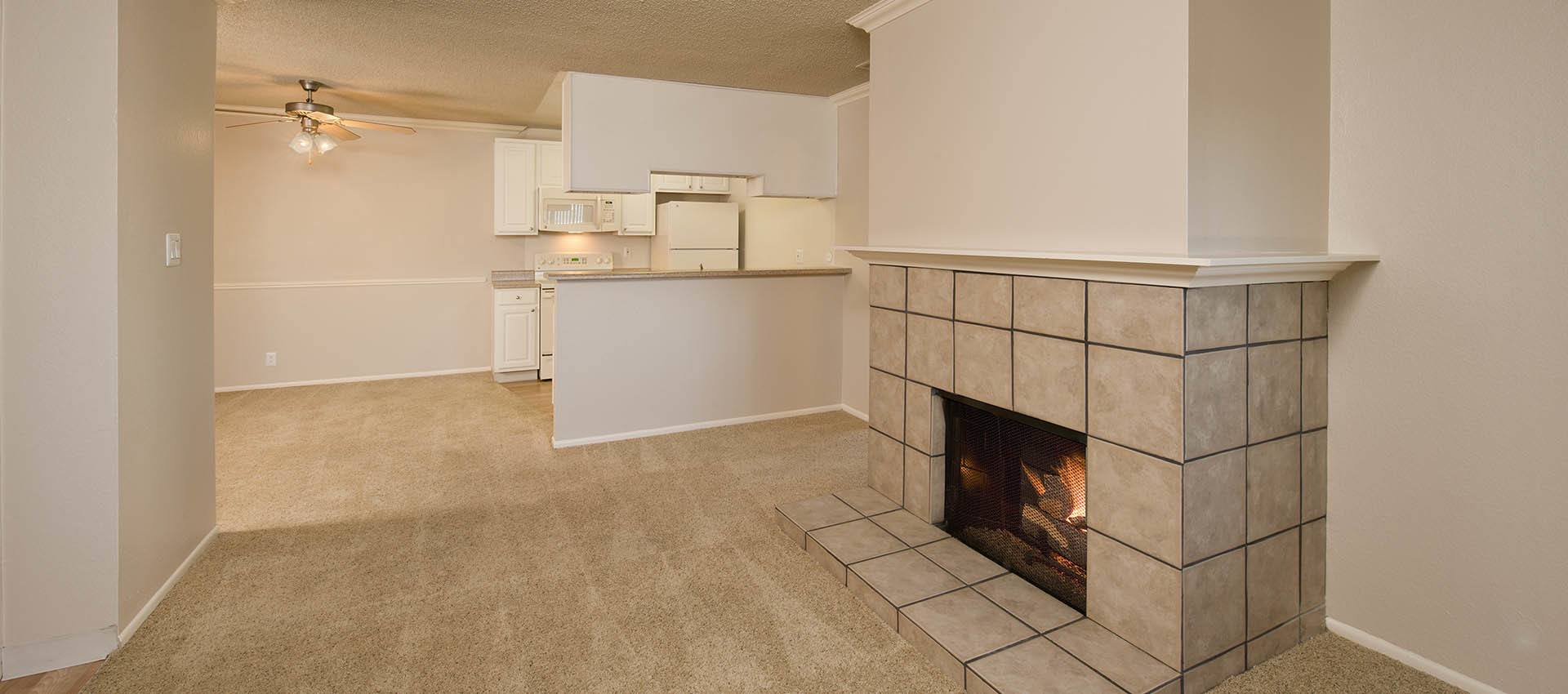 Fireplace Near Dining And Kitchen Area at La Valencia Apartment Homes in Campbell, California