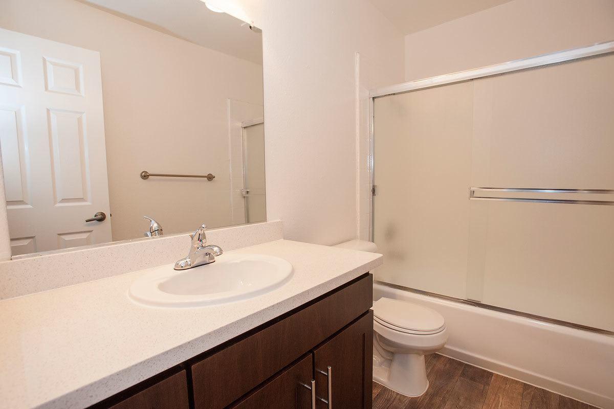Bathroom at La Valencia Apartment Homes in Campbell