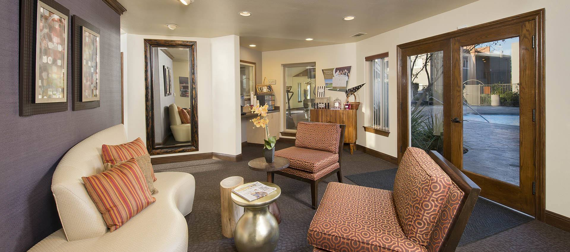Resident Lounge at La Valencia Apartment Homes in Campbell, California