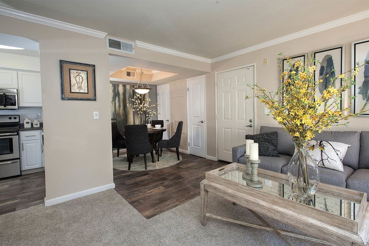 Mill Springs Park Apartment Homes showcase a state-of-the-art living room in Livermore, California