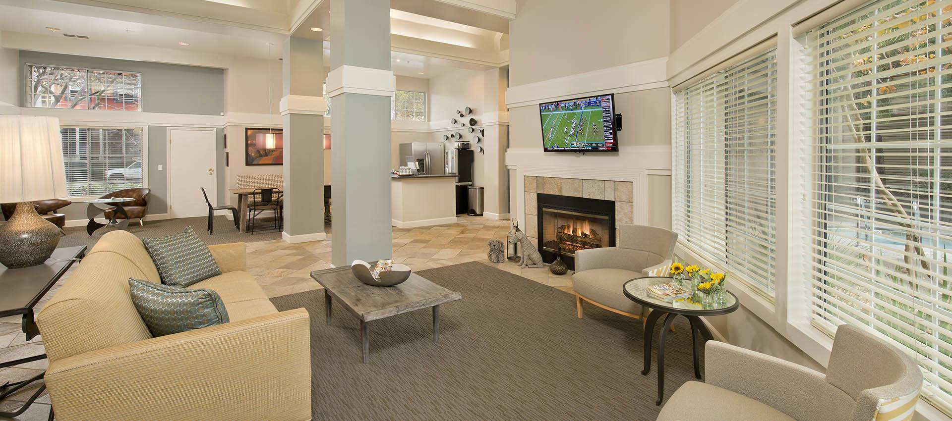 Interior of the clubhouse at Mill Springs Park Apartment Homes in CA