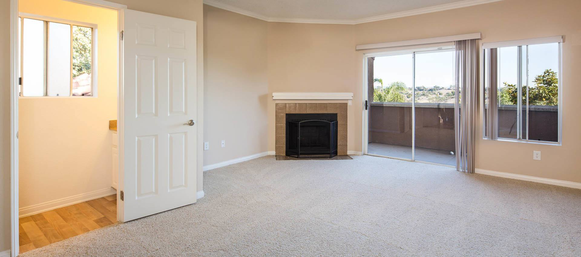 Spacious Living Room With Fireplace at Niguel Summit Condominium Rentals in Laguna Niguel, CA