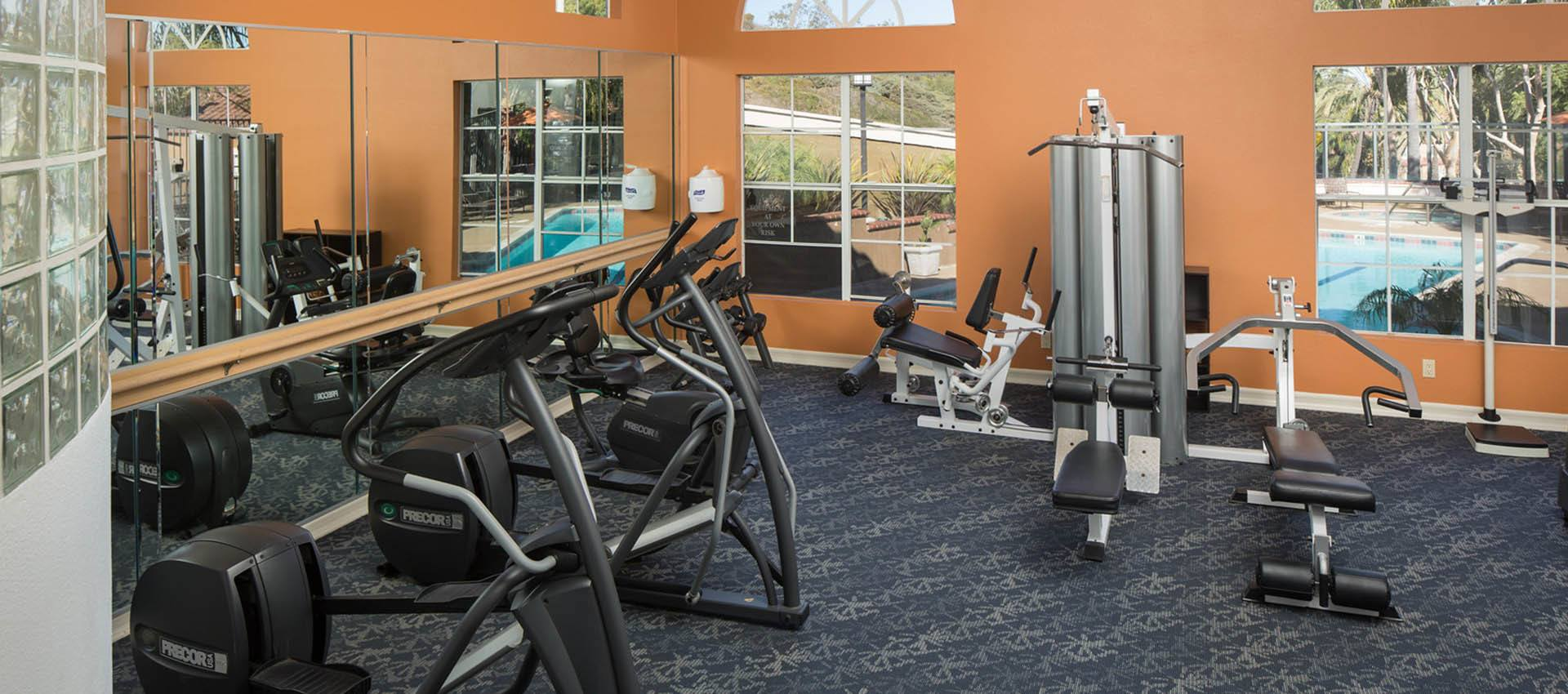 Well Equipped Fitness Center at Niguel Summit Condominium Rentals in Laguna Niguel, CA