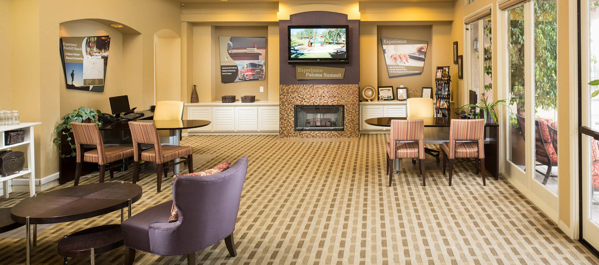 Clubhouse Lobby at Paloma Summit Condominium Rentals in Foothill Ranch, CA