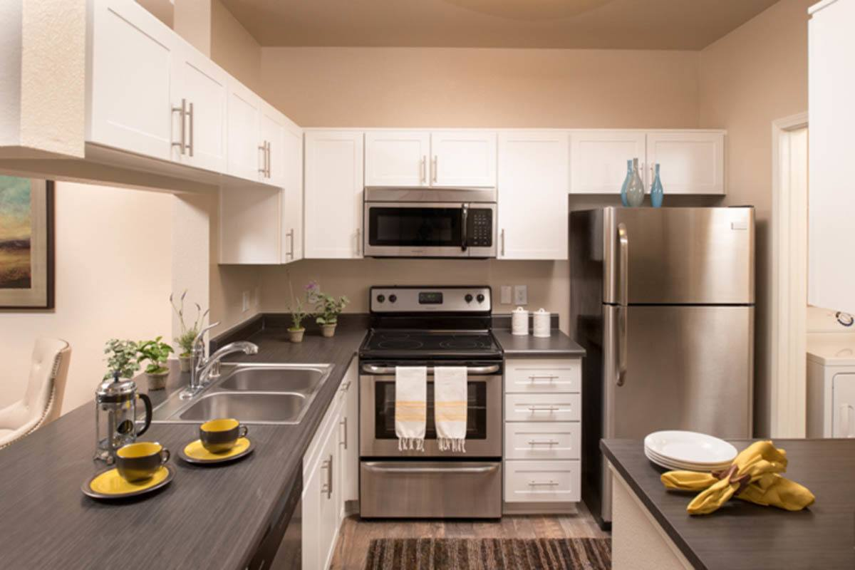 Kitchen With Stainless Appliances at Paloma Summit Condominium Rentals