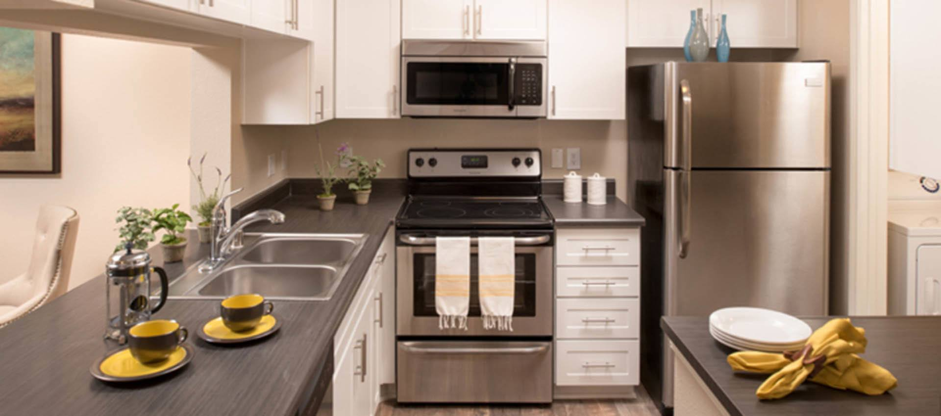 Luxury Kitchen With Stainless Appliances at Paloma Summit Condominium Rentals in Foothill Ranch, CA