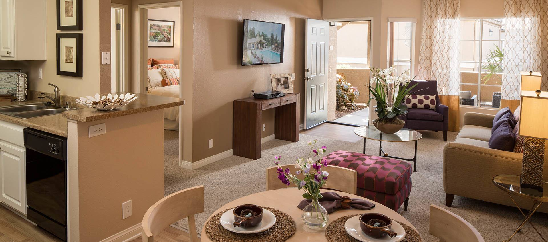Spacious Living Room And Dining Area at Paloma Summit Condominium Rentals in Foothill Ranch, CA