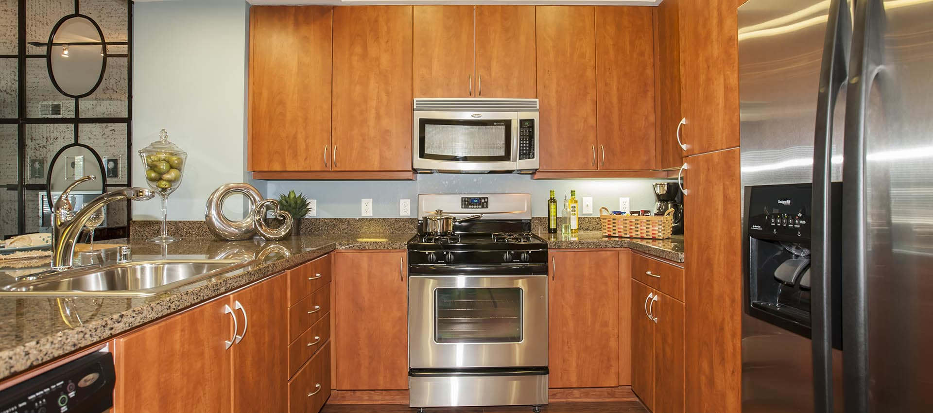 Luxury Kitchen With Custom Cabinets at Azure Apartment Homes in Petaluma, California