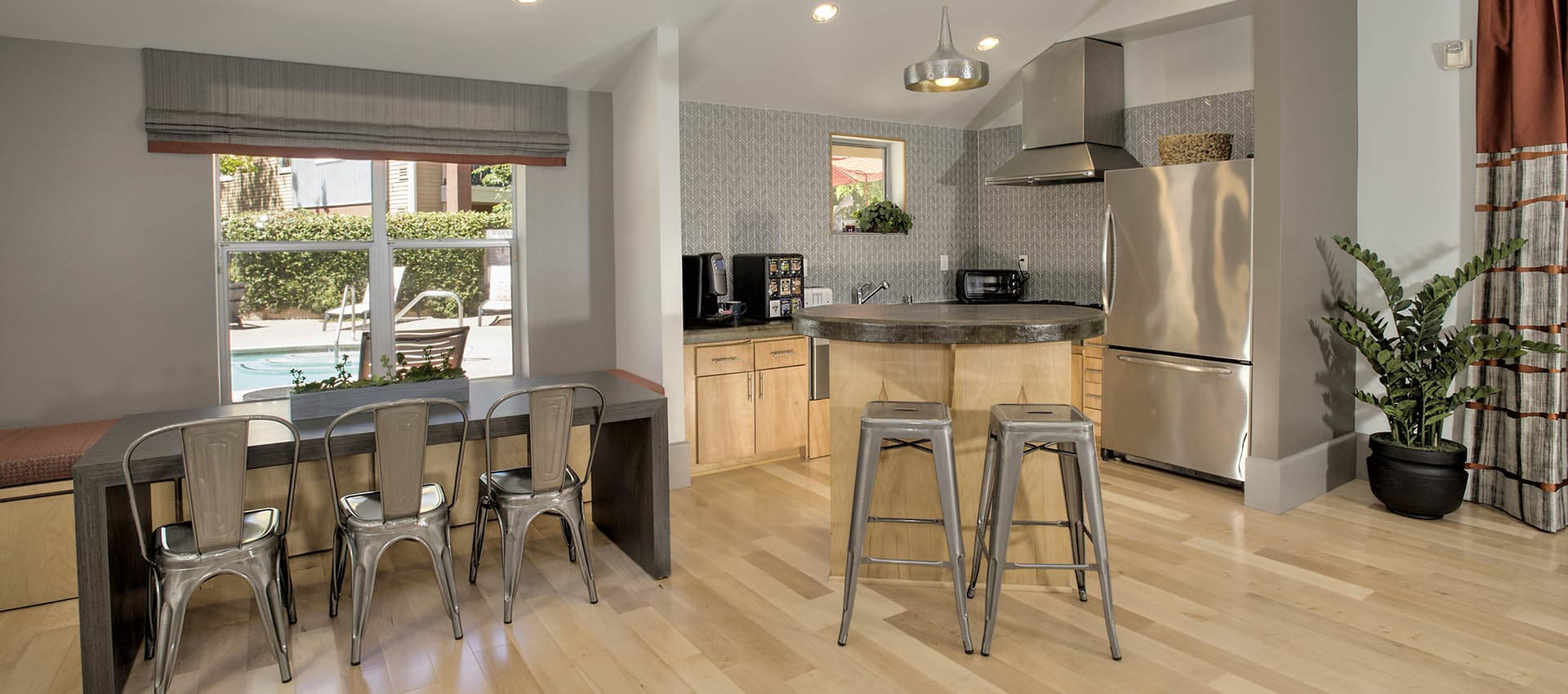 Modern Industrial Chairs And Stools In The Clubhouse at Azure Apartment Homes in Petaluma, California