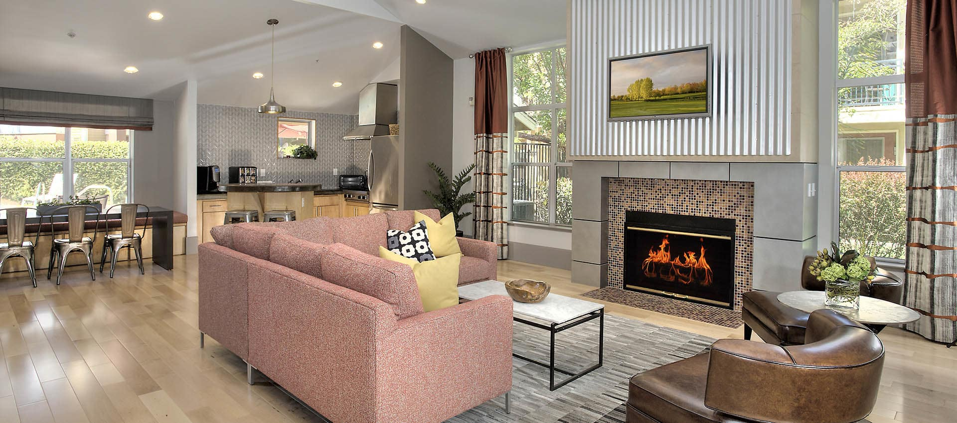 Seating Area And Fireplace In Clubhouse at Azure Apartment Homes in Petaluma, California