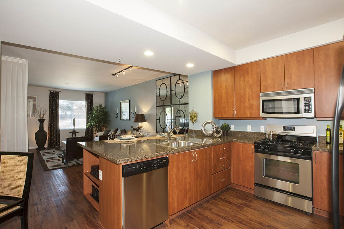 Spacious Kitchen with stainless-steel appliances at {[location_name}} in Petaluma