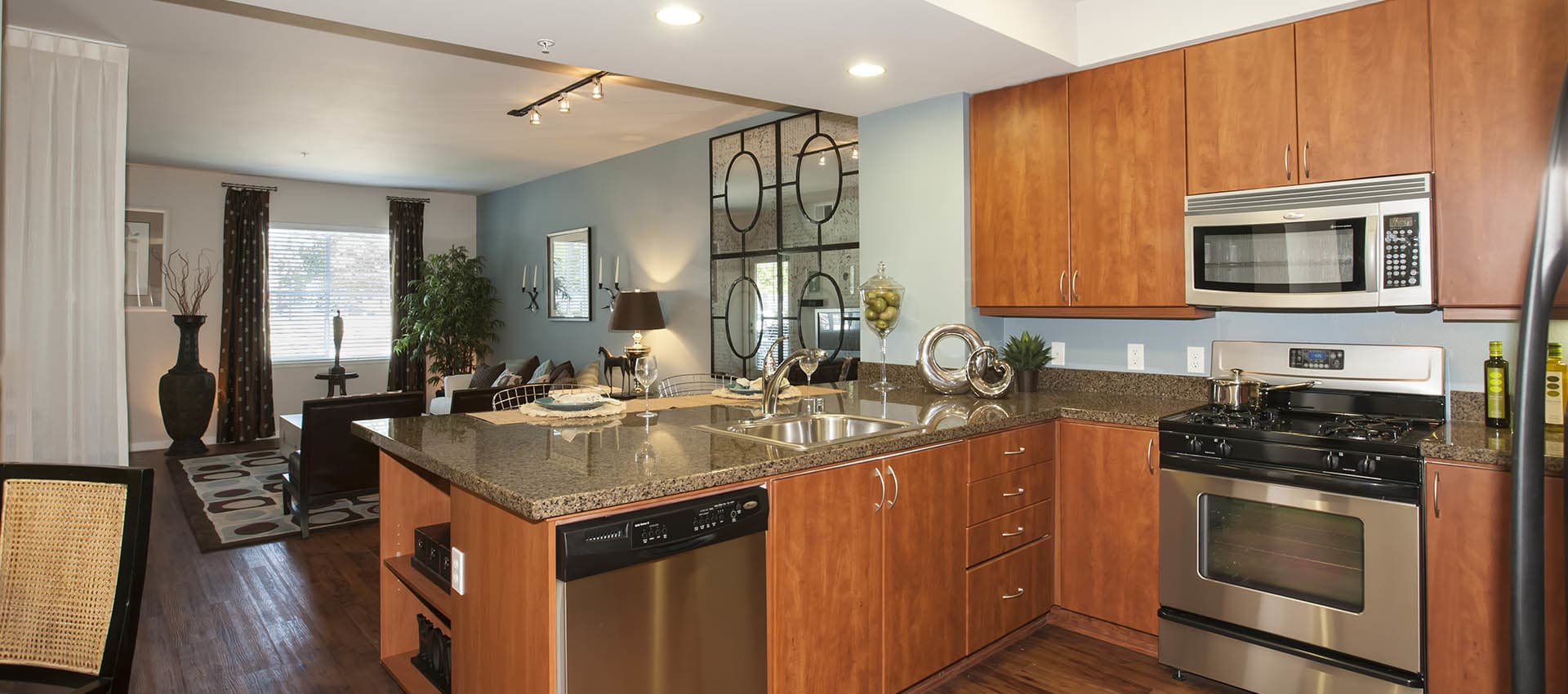 Spacious Kitchen With Stainless Appliances at Azure Apartment Homes in Petaluma, California