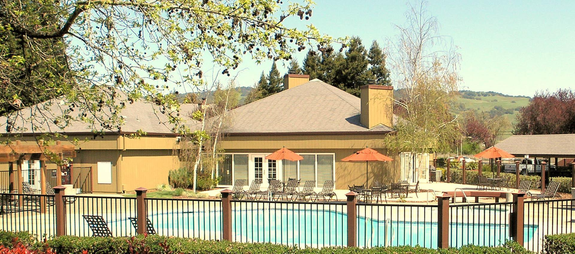 Sparkling pool at apartments in Rohnert Park, CA