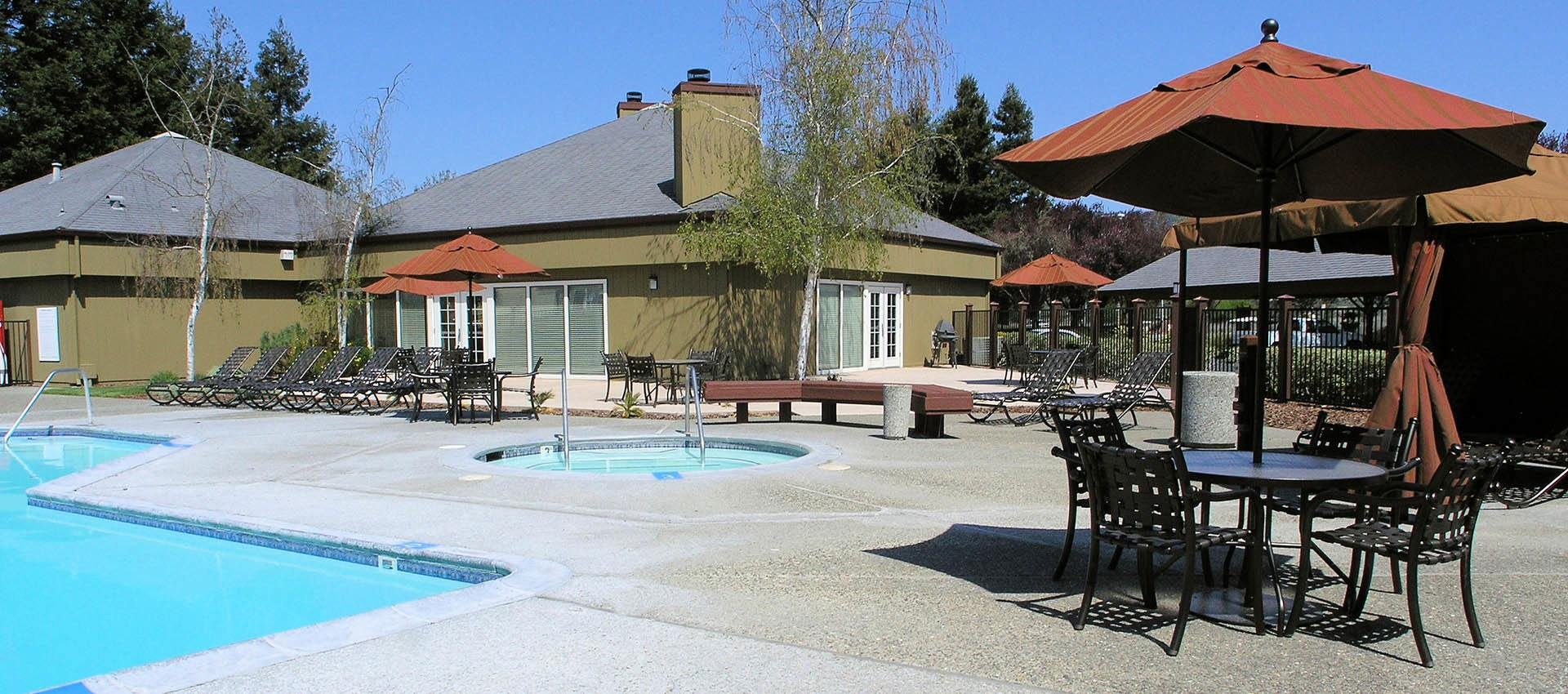 Pool house at apartments in Rohnert Park, CA