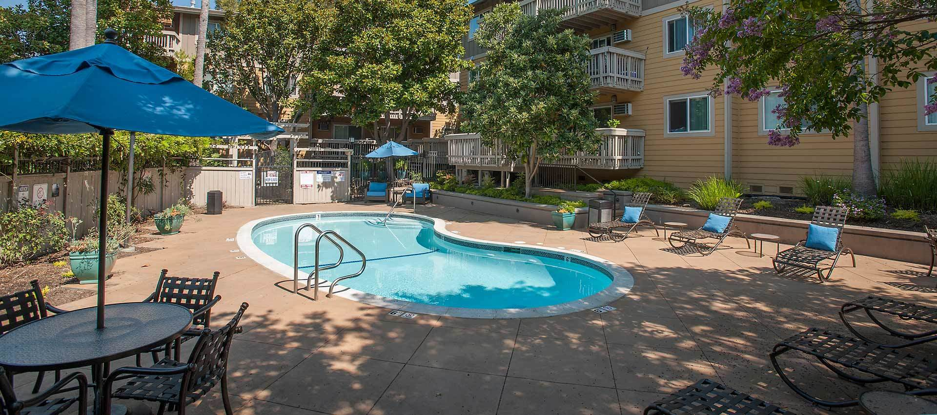 Outdoor pool at apartments in Martinez, CA