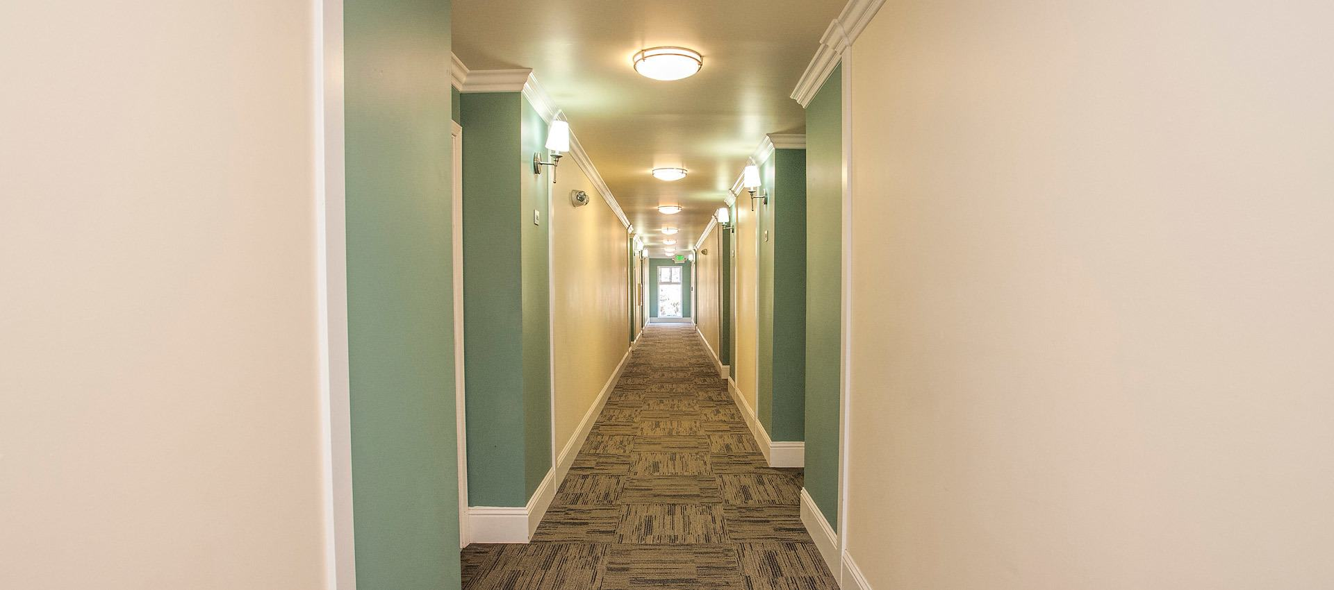 Hallway at Regency Plaza Apartment Homes in Martinez, CA