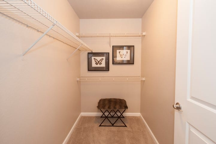 Walk in closets at Reserve at Capital Center Apartment Homes
