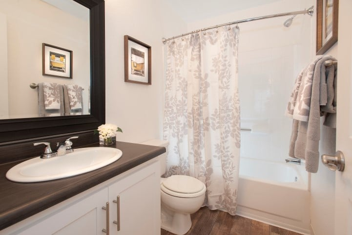 Renovated bathroom at Reserve at Capital Center Apartment Homes