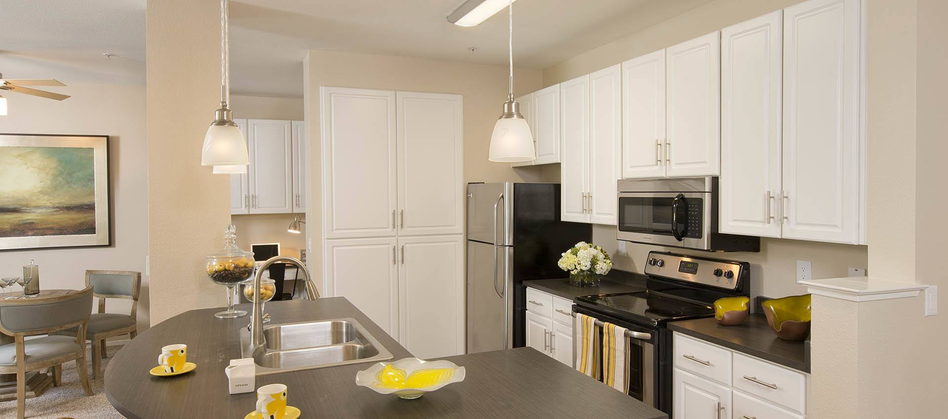 Kitchen With White Cabinets at Rosewalk at San Jose
